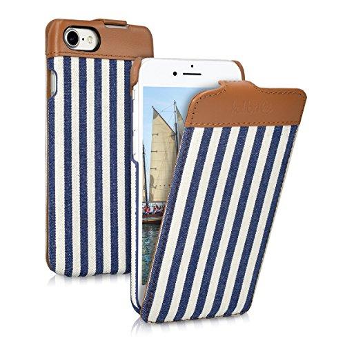 kalibri-Flip-Case-Hlle-Emma-fr-Apple-iPhone-7-Aufklappbare-Stoff-und-Echtleder-Schutzhlle-Tasche-im-Flip-Cover-Style-im-Streifen-Design
