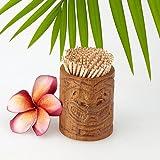 "Acacia Wood, Tiki Toothpick Holder 2.5"" x 2"""