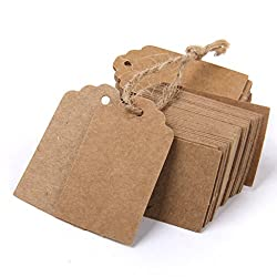 Imported Phenovo Kraft Paper Blank Card DIY Gift Tags Rectangle Label 100pcs Brown