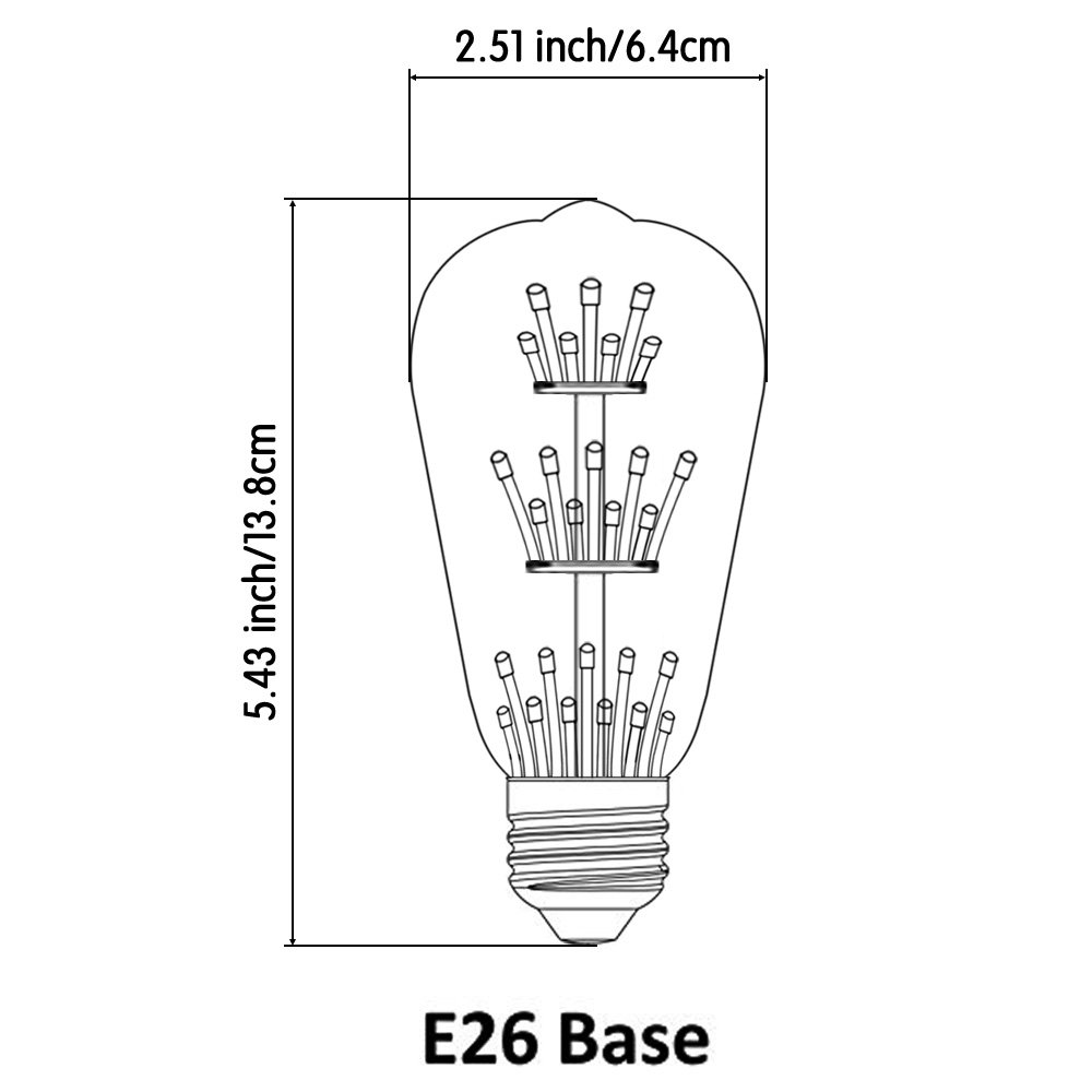 Kiven ST64 Vintage Edison Design A19 E26 2200K Warm White Retro Energy Save Beautiful and Romantic Starry Decorative 3W LED Light Bulbs for Holiday Christmas Indoor Party Antique 110V Not Dimmable 2