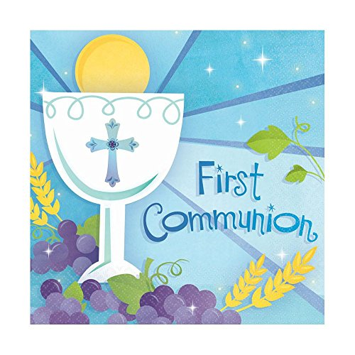 Blue First Communion Lunch Napkins 36 count