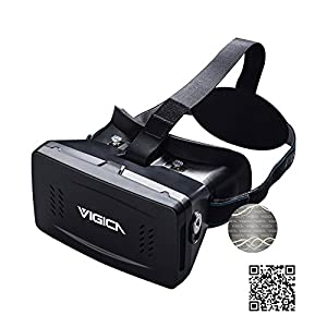Vigica Virtual Reality VR Headset imax 3D Video Glasses Google Cardboard Plastic Version with Magnet Controller for 3d Movies Games 3.5-6 Inch Iphone Samsung HTC Cellphones