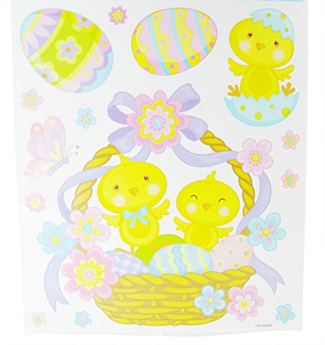 Spring Into Easter Window Clings! Cute Baby Chicks in Easter Basket Vinyl Window Clings - 14 Count