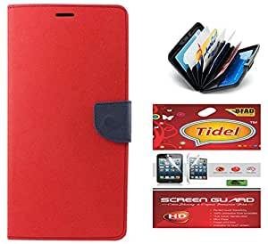 Tidel Premium Table Talk Fancy Diary Wallet Flip Cover Case for Lenovo A7000 (Red)+ Credit Card Holder & screen guard