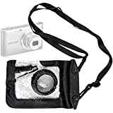 DURAGADGET Compact Camera Case in Black for Samsung WB350F, Samsung ST150F, Samsung DV151 & Samsung MV900F - Premium Quality, Water-Resistant Pouch with Zoom Lens Compartment, Cross-Body Strap & Air-Locked Seals