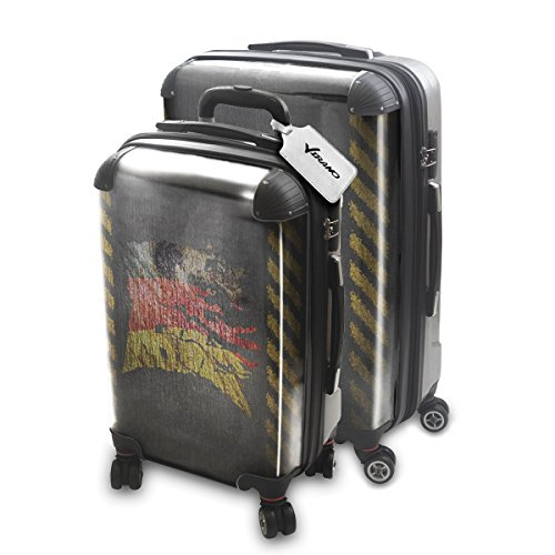 Drapeau Déchiré Allemagne, 2 pièce Set Luggage Bagage Trolley de Voyage Rigide 360 degree 4 Roues Valise avec Echangeable Design Coloré. Grandeur: Adapté à la Cabine S, L