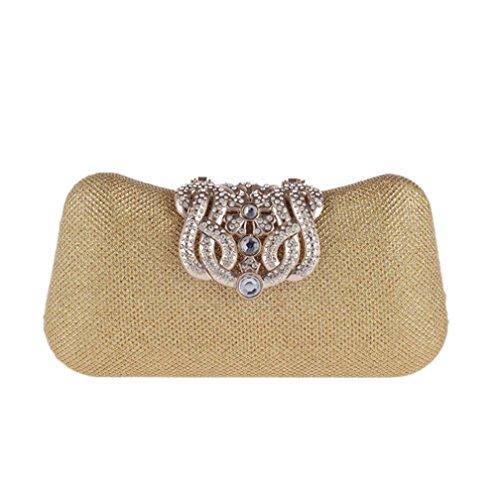 Moda Unico fibbia argento cristallo Diamante sera pochette borsa del partito di promenade nuziale (20 * 11 * 4cm) , gold