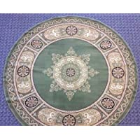 Traditional Round Area Rug 7 Ft. 3 In. X 7 Ft. 3 In. Green Bellagio 450