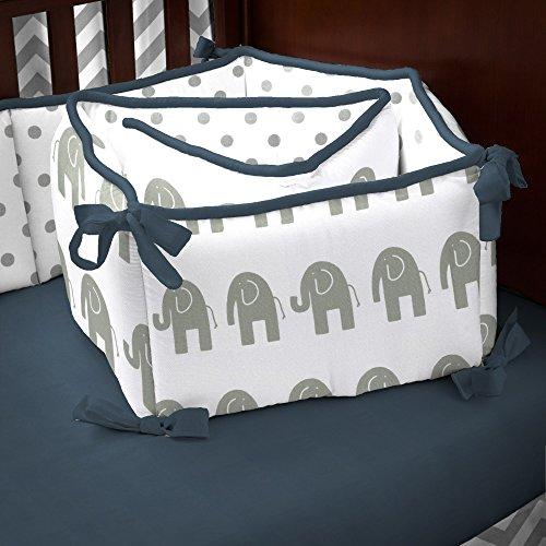 Carousel Designs Navy and Gray Elephants Crib Bumper (Carousel Crib Bumper compare prices)