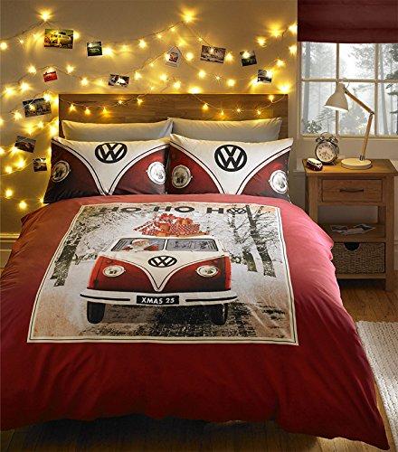 vw-christmas-double-quilt-duvet-cover-2-pillowcases-bedding-bed-set-santa-volkswagen-red-xmas