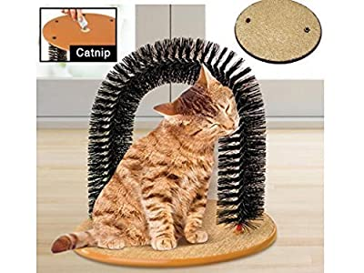 Cat Kitten Massaging Scratching Scratcher Pet Arch Self Grooming Groomer Soft Comfortable Bristles Scratching Play Nip Animal Luxury Cute
