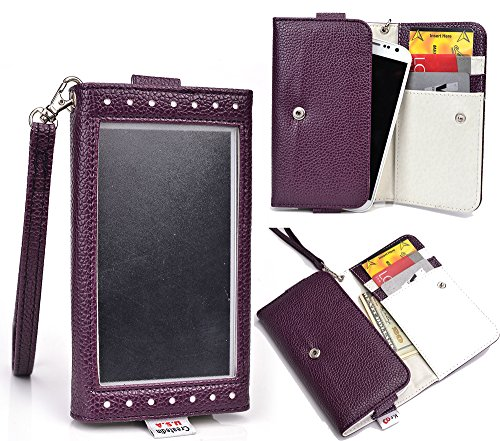 Nuvur ™ Expose Pu Leather Wallet [Purple] For Sony Xperia Z3 Compact (Aka Sony D5803, D5833)(W/Handstrap&Cardslots)