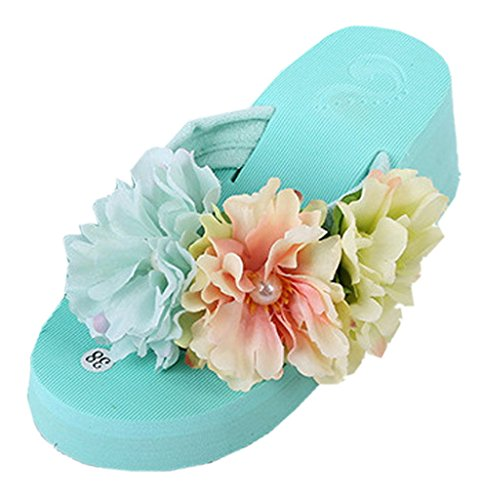 La Vogue-Sandali Donna Flops Ciabatte Infradito a Fiori Colorati Spiaggia Scarpe (Lunghezza delle scarpe interne: 22cm, Verde Menta)