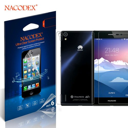 Nacodex® 6X Hd Clear Screen Protector Film For Huawei Ascend P7 (3 Front + 3 Back = 6Pcs) Lcd Cover Guard Shield [ 6Pcs Screen Protectors + 2X Cleaning Cloth + 1X Smoothing Card] [ W/Tracking No.]