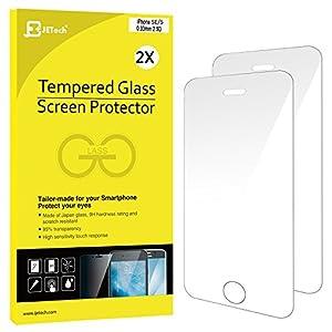 JETech 0314-SP-I5-GLASSx2 - Protector de pantalla para iPhone SE/5S/5C/5, de cristal templado