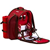 Search : Ferlin Picnic Backpack for 2 With Cooler Compartment, Detachable Bottle/Wine Holder, Fleece Blanket, Plates and Cutlery Set