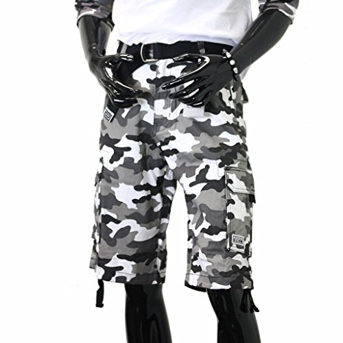 Pro Club Men's Cotton Twill Cargo Shorts with Belt, White (City Camo), 34