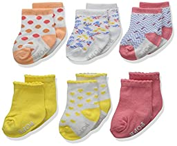 Rosie Pope Accessories Girls\' 6pk Crew Playful Me, Multi, 0-6 Months