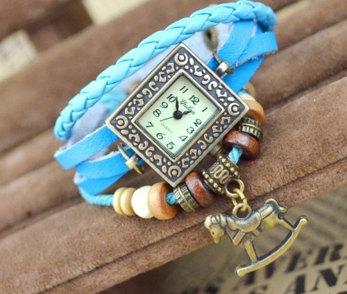 Kano Bak(Tm) Fashion Weave Wrap Around Press Button Leather Retro Bracelet Woman Girl Unisex Horse Pendant Wrist Gift Watch Sky Blue