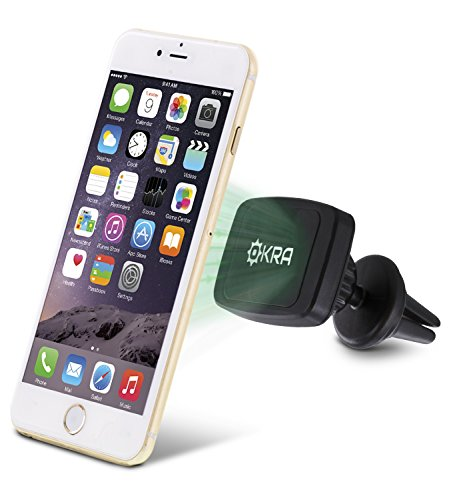 Okra Universal MagnetMount PRO 360 Degree Rotating [6 Built-in Magnets] Magnetic Air Vent Car Mount Holder for iPhone 6s Plus 6 5s 5c 4s, Galaxy S6 Edge plus S5 S4 S3 S2 and All Large Smartphones (Iphone 6 Plus Car Vent Clip compare prices)