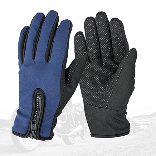 Syrinx Winter Warm Anti-Skid Windproof Gloves Bike Full Finger Gloves For Outdoors Sports Hiking Skiing (Navy blue, L)