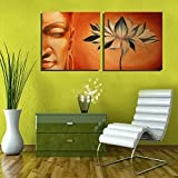 2 Painting Sets Of Buddha With Lotus Meditation Canvas Oil Painting Print With Wooden Mounting | Suryastores CANVAS...