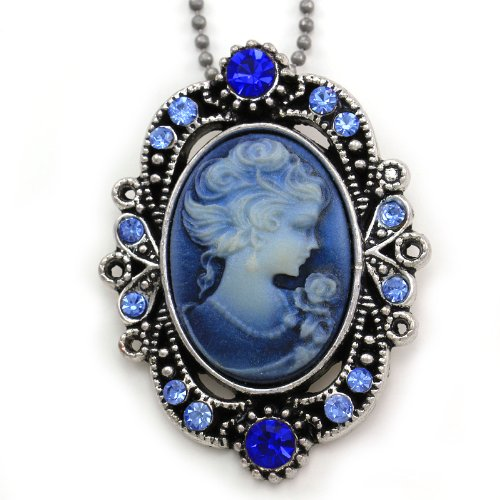 Royal Blue Cameo Pendant Necklace Charm Antique Vintage Style Light Blue Crystals Lady Oval Ladies Women Fashion Jewelry