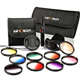 K&F Concept 52mm 9 pcs Graduated Orange Blue Grey Red Purple Green Pink Brown Yellow Lens Accessory Filter Kit for Nikon D5300 D5200 D5100 D3300 D3200 D3100 DSLR Cameras + Cleaning Pen + Petal Lens Hood + Center Pinch Lens Cap + Filter Bag Pouch