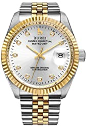 BUREI® Men's BM-5003-52AG Gold hand Stainless Steel Dress Automatic Watch (Silver Dial)