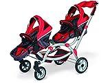 Decuevas Toys - Set con coche y silla plegable para mu�ecas gemelos, con manoplas, 45x100x75 cm
