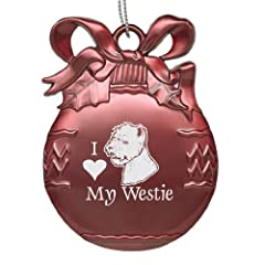 Solid Pewter Christmas Ornament - I Love My Westie - Pink