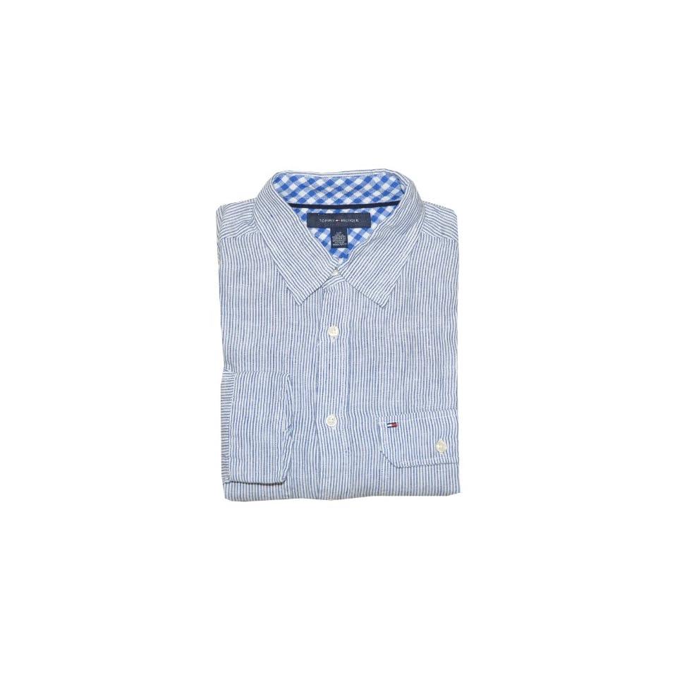 Tommy Hilfiger Men Long Sleeve Logo Striped Linen Shirt