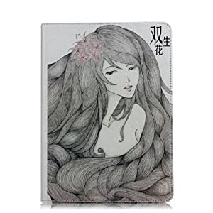 Termichy Pretty Girl Sketch Pu Leather flip cover case with stand for both iPad mini1/iPad mini2,ipad mini3 come with 1pcs screen protector and 1pc stylus (Front) by Termichy [並行輸入品]