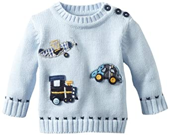 Kitestrings Baby-boys Newborn Planes Trains and Automobiles Sweater, Light Blue, 3-6 Months