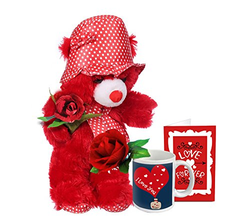 TIED RIBBONS Special Gift ComboTeddy Coffee Mug Artificial Rose And Greeting Card