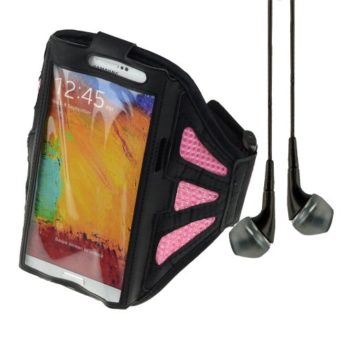 Adjustable Fabric Workout Armband For Samsung Galaxy Note 2 / Note 3 (Black / Pink) + Vangoddy Headphone With Mic ,Black