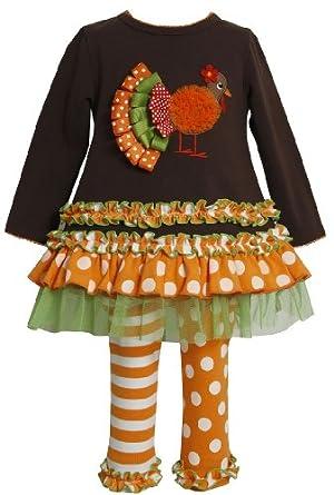Bonnie Jean Girls Thanksgiving Turkey Fall Holiday Dress Set, Brown, 2T