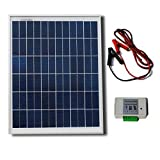 20W 12V Solar System Kit : 20 Watt Polycrystalline Solar Panel&Battery Clips&3A Charge Controller
