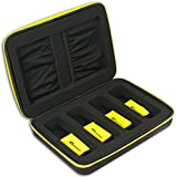 eD ELITE ELECTRIC YELLOW QUAD STORAGE CASE for your active 3-D Glasses with 4 Microfiber Cleaning Cloths for 3D glasses with foldable arms by eDimensional Elite Series (YELLOW)