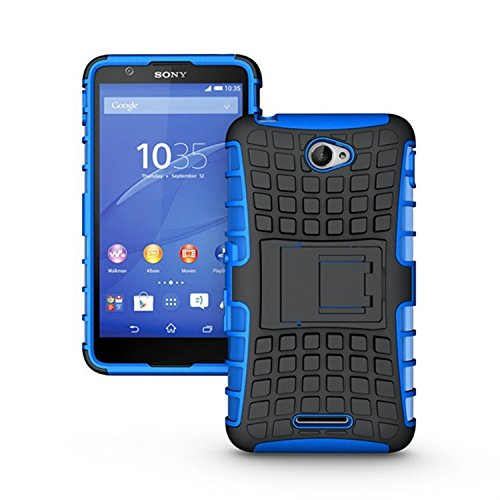TARKAN Hard Armor Hybrid Rubber Bumper Flip Stand Rugged Back Case Cover For Sony Xperia E4 - BLUE