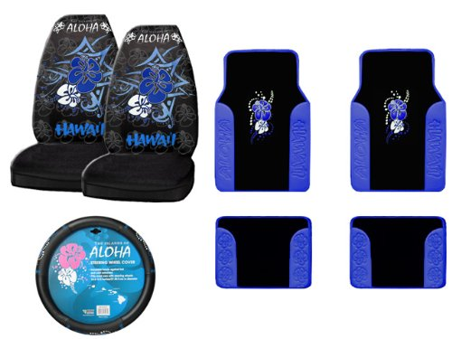 7-Piece Hawaii Aloha Blue Automotive Interior Gift Set - 4 Universal Fit Plush Carpet with Vinyl Trim Floor Mats For Cars / Trucks, 2 Universal-fit Front Bucket Seat Covers and One Comfort Grip Steering Wheel Cover