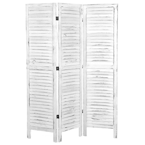 MyGift Whitewashed Wood 3 Panel Screen, Folding Louvered Room Divider (Louvered Folding Screen compare prices)