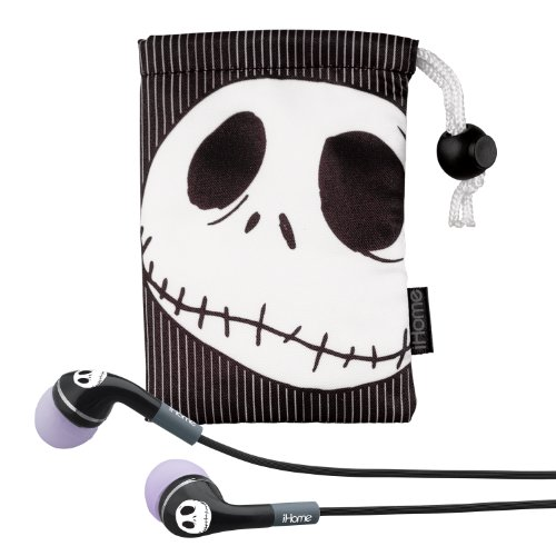 Ekids Jack Skellington Noise Isolating Earphones With Pouch, By Ihome - Dn-M153