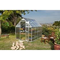 "Hot Sale Nature Twin Wall Polycarbonate Greenhouse Frame Finish: Silver, Size: 7' 1"" H x 6.0 W x 8.0 D"