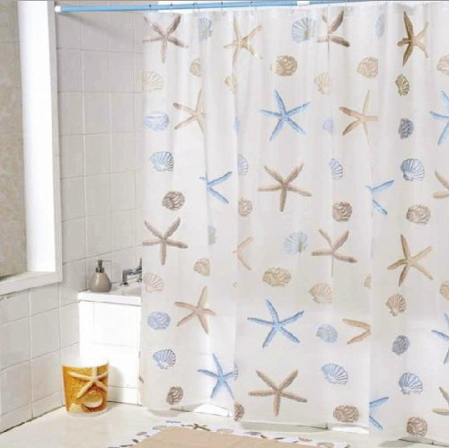All Home Fashions Decorative Cute Peva Bathroom Shower Curtain Liner For Kids With 12 Pieces Hooks, Clear With Sea Elements, 72 Inches X 72 Inches (Frosted Transparent) front-286970