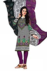 Fashionx Purple cotton printed unstitched dress material