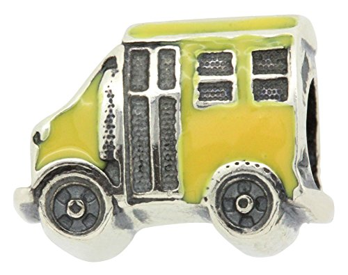 Zable Sterling Silver Enameled Yellow School Bus Bead