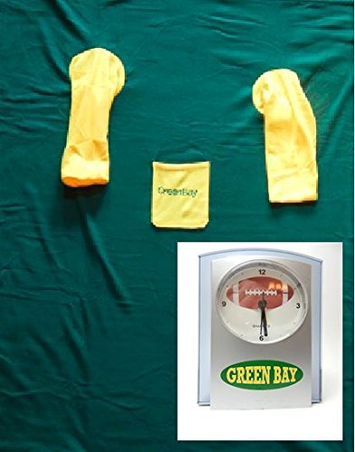 Green Bay Packers Clock PLUS Blanket w/ Sleeves Green & Gold Fleece Bundle