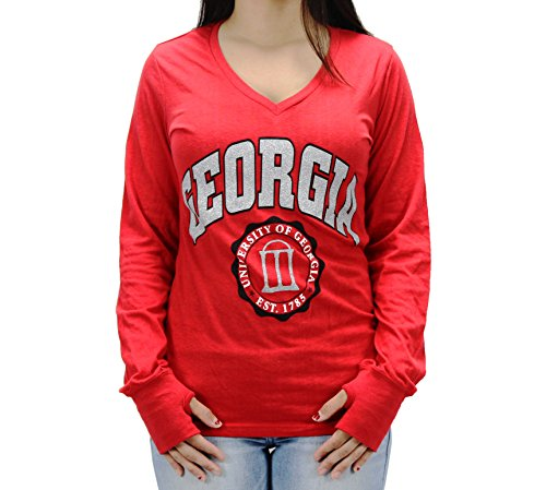 Pressbox Women' s NCAA Georgia Bulldogs V-Neck Long Sleeve T-Shirt (Georgia Bulldogs Clothes compare prices)
