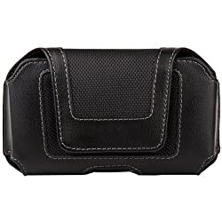 Black Luxmo Faux Leather & Nylon Horizontal Holster Case with Belt Clip for LAVA Iris 400s